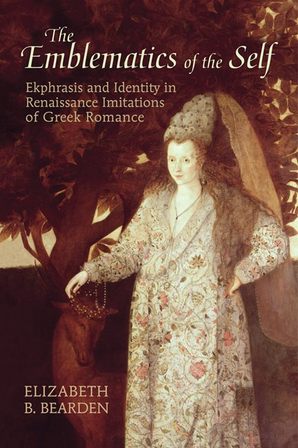 Book cover image shows a white woman in elaborate Renaissance clothing resting her hand on a stag's head.